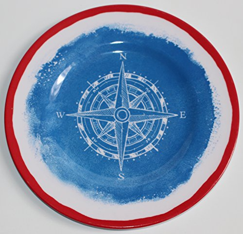 Nantucket Home Nautical Navy Compass Red Rimmed Melamine Salad Plates, Set of 4