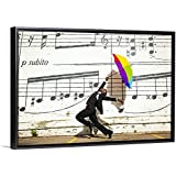 """Floating Frame Premium Canvas with Black Frame Wall Art Print Entitled A Man Jumping and Dancing with an Umbrella Outside 30""""x20"""""""