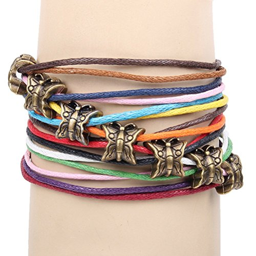 [Winter's Secret Bronze Butterfly Pattern Hand Braided Diy Color Wax Rope Ancient Wrap Bracelet] (Peppermint Costumes)