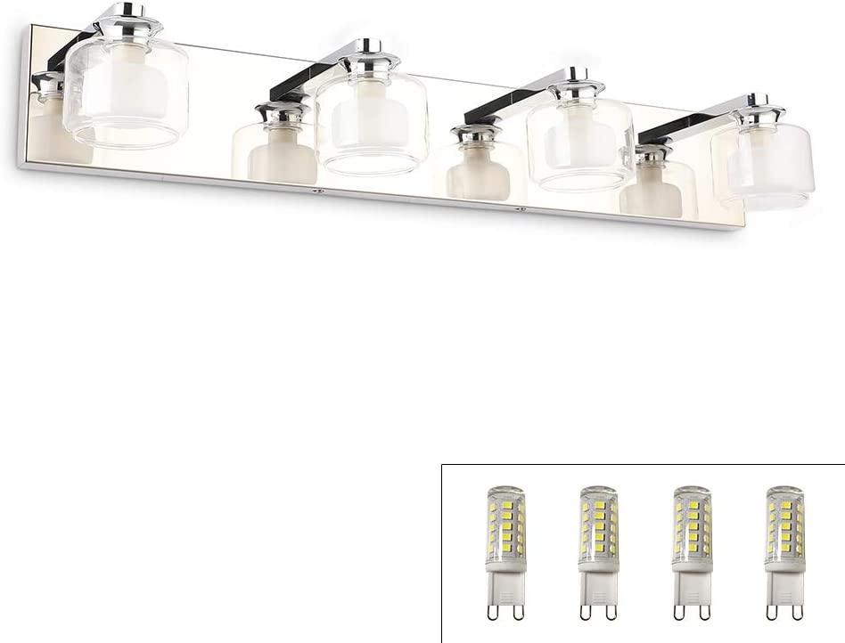 Amazon Com Bathroom Vanity Light Fixtures Brivolart 4 Lights 27 5in Modern Led Vanity Lights Glass Chrome Wall Lighting Decor Over Mirror Include Led G9 Bulbs Home Improvement