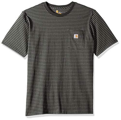 Carhartt Men's Big-Tall K87 Workwear Pocket Short Sleeve T-Shirt (Regular and Big-Tall & Tall Sizes), Peat stripe, 3X-Large/tall