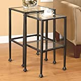 Metro Shop Black Tempered Glass and Metal Nesting Tables (Set of 2)