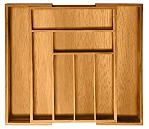 Bambusi Expandable Drawer Organizer - 100% Natural Bamboo Kitchen Silverware Organizer - 8 Compartment Utensil Cutlery Tray