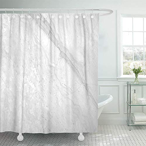 Emvency Shower Curtain Waterproof Polyester Bathroom 66 x 72 inches Gray Grey Marble Design Light Slab Abstract Bright Carrara Ceramic Close Set Hooks Decorative ()