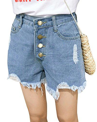 Shorts Jeans Trou Femme Taille Haute Pantalons Denim Ete de Plage Bleu