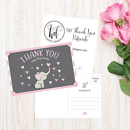 50 4x6 Elephant Girl Baby Shower Thank You Postcards Bulk, Beautiful Pink Modern Cute Boho Blank Thanks Note Card Stationery Appreciation Set Photo #2