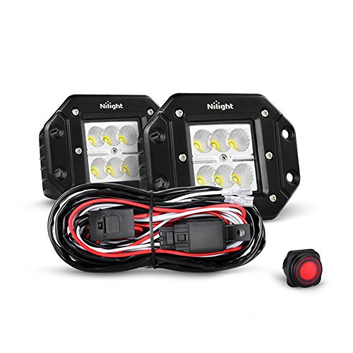 Flush Two Light (Nilight 2PCS 18W Flood Flush Mount LED Work Light Fog Lights Off Road Lights Driving Lights With Off Road Wiring Harness, 2 Years Warranty)