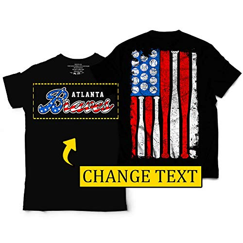 Atlanta Baseball Red-White-Blue American USA-Flag Stars & Stripes Champions 4th July Customized Handmade Hoodie/Sweater/Long Sleeve/Tank Top/Premium T-shirt
