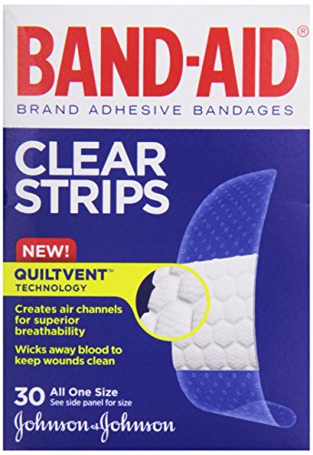 Band-Aid Adhesive Bandages, Clear, 3/4-inch Wide, 30 ct