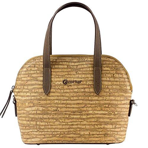 Corkor Top Handle Handbag Tote Small 9 to 5 Crossbody Cork Bag Satchel Natural Zebra by Corkor