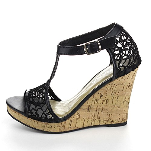 Ankle Diviana Sheer Kealie Wedge Womens Sandals Black 25 Cork Platform Mesh Strap xZpSx0w