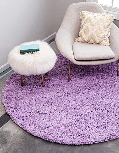 Unique Loom Solo Solid Shag Collection Modern Plush Lilac Round Rug 8 2 x 8 2