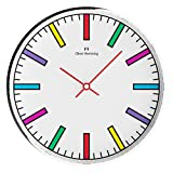Oliver Hemming Simplex Collection 12 Inch Wall Clock with Colorful Block Line Dial