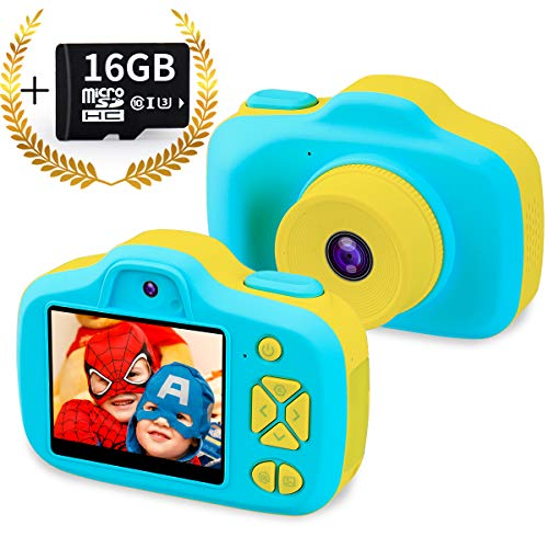 Kids Digital Camera Gifts for 3-12 Year Old Boys,8MP HD Front/Rear Selfie 1080P Video Shockproof Mini Child Toy Camcorders with 2.3 inches LCD for Indoor Outdoor,Blue(16GB Memory Card ()