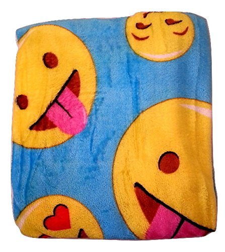 Emoji Faces Blue Round Velvet Throw Blanket Kids Plush Soft Toy Toddlers Teens Emojies Expressions WILL Vary 50