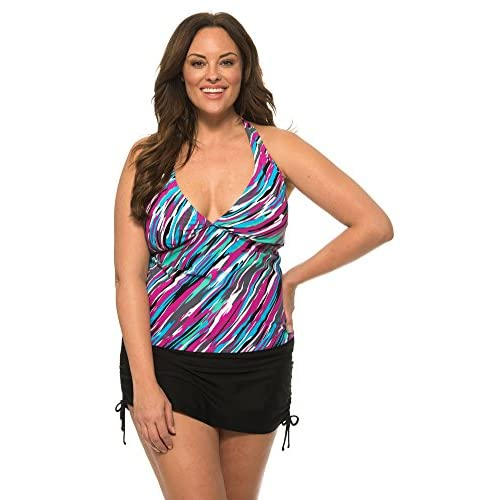 Beach Party Womens Plus Size Halter Tankini with Adjustable Tie Back and Matching Skirt Bottom hot sale