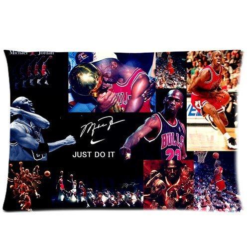 Hipster NBA Chicago Bulls Michael Jordan Custom Rectangle Pillowcase Pillow Cases Cover 20x30 (one side) Standard Size NIKE JUST DO IT Dunk