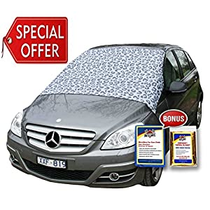 SnowOFF Leopard LARGE Windshield Snow Cover FITS ANY CAR, SUV Truck Van - Automotive Hood Cover WINDPROOF Straps, Wings Magnets Suction Cups - BONUS Demist Cloth + Blanket - Winter Ice Frost Guard
