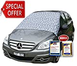 Automotive : SnowOFF Leopard LARGE Windshield Snow Cover FITS ANY CAR, SUV Truck Van - Automotive Hood Cover WINDPROOF Straps, Wings Magnets Suction Cups - BONUS Demist Cloth + Blanket - Winter Ice Frost Guard