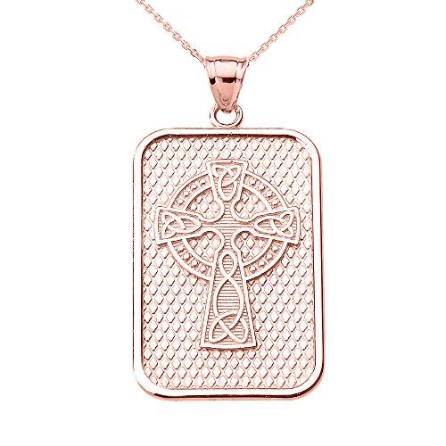 Collier Femme Pendentif 14 Ct Or Rose Trinité Nœud Celtique Croix (Livré avec une 45cm Chaîne)