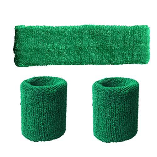 Beaums Unisex Polyester Elastic Wristband Headband Set Solid Color Breathable Sports Basketball Sweatband