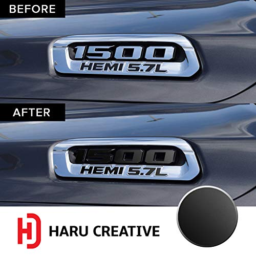 - Haru Creative - Front Hood Emblem Logo Letter Overlay Vinyl Decal Sticker Compatible with and Fits Ram 1500 5.7L Hemi 2019 - Metallic Matte Chrome Black