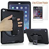 iPad Mini 4,Case-cubic 360 Degree Rotation Case,[Rugged:Shock Proof] Water resist, Dirt resist, with Built-in Stand, a HD Screen Protector, a Leather Hand Strap