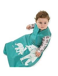 Wee Urban Cozy Basics 4 Season Baby Sleeping Bag, Aqua Elephant, Large 18-36m