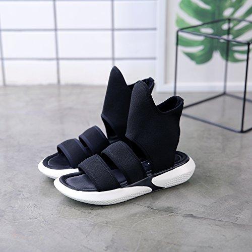 de Zapatos Negro Bocas ZHANGJIA Peces Verano Ins Sandalias Plano MsWomen de Grueso Inferior Zapatos Damas de Five Fondo 40 Thirty xxqaXR6w1