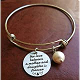Mother daughter gift Love between mother and daughter is forever expandable Stainless Steel Charm bracelet,memorial gift,Sympathy Mother and Daughter gift