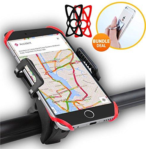fabquality Sonderangebot Bike Mount, Universal Fahrrad Lenker & Motorrad Halter Wiege Klemme-Bonus Ring Halter-für iOS Android Smartphone GPS mit nur veröffentlicht, 360Grad drehbar, Rubber Strap