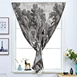 dark grey curtains dunelm Blackout Window Curtain,Free Punching Magic Stickers Curtain,Vintage,Historical French Revolution Sketch with Napoleon and Woman in Garden Artwork,Dark Grey Black,Paste Style,for Living Room