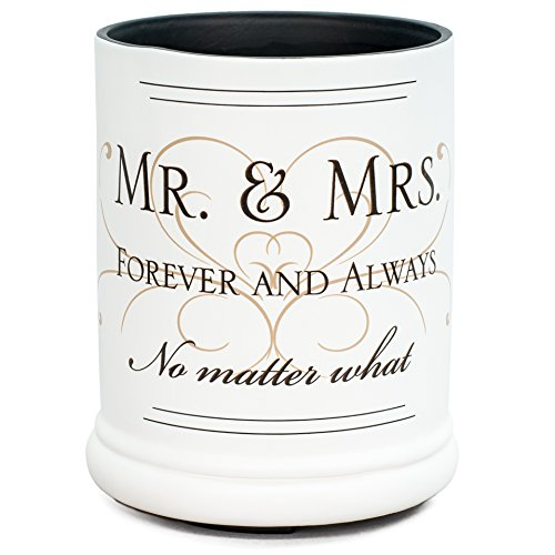 Elanze Designs Mr & Mrs Forever and Always Ceramic Stoneware Electric Large Jar Candle Warmer ()