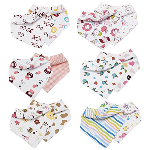 Bundle Monster Girls 12pc Various Art Design Baby Bandana Bibs With Snaps (Girl Monsters)