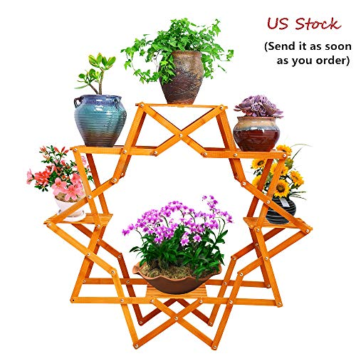 Flower Planter Designs - hebensi Wooden Flower Stand Six Tier Planter Display Creative Design Indoor Outdoor Rack Sturdy Construction Foldable Plant Stand