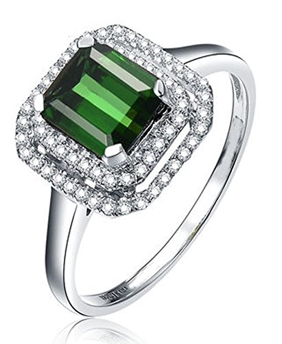 Perfect 1 Carat princess cut Emerald and Diamond double Halo Engagement Ring in White Gold