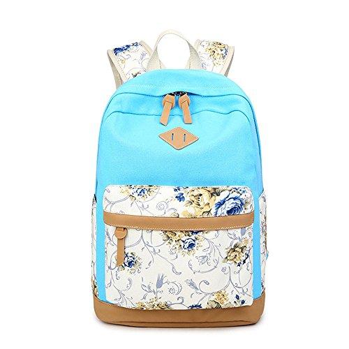 Flor impresa Casual lona portátil bolso escolar mochila ligera mochilas para niñas adolescentes Azul claro