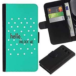 All Phone Most Case / Oferta Especial Cáscara Funda de cuero Monedero Cubierta de proteccion Caso / Wallet Case for Samsung Galaxy S3 III I9300 // Hello Unlock Polka Dot Green Text