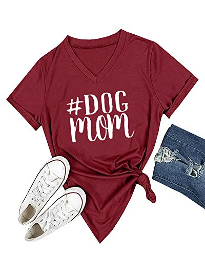 Feel Show Womens Casual Short Sleeve Letter Printed Dog Mom Pullover Tees T-Shirt Blouse - Mom Short Sleeve Tee