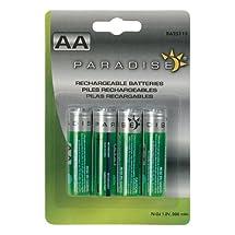Paradise BA25115 Rechargeable Solar AA 900mAH Batteries, 4-Pack
