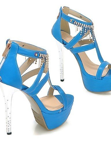 Heel Shoes ShangYi Party Evening Yellow Red Heels Wedding Sandals Leatherette Stiletto Blue Women's amp; Platform White Urrwx5qI1