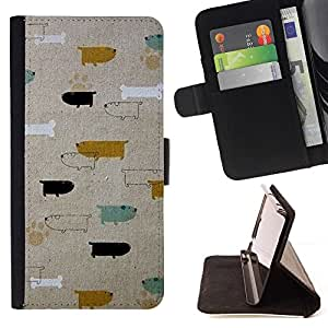 For Sony Xperia Z5 (5.2 Inch) / Xperia Z5 Dual (Not for Z5 Premium 5.5 Inch) Case , Patrón Perros Dachshund del trullo del oro- la tarjeta de Crédito Slots PU Funda de cuero Monedero caso cubierta de piel