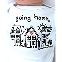 Leaving Hospital Newborn Going Home ® Outfit for Baby Gender Neutral, Take Home Outfit, Coming Home Baby Announcement Shirt, Outfit for Photographing, Infant Clothes, White Short Sleeve, 0-3 Months