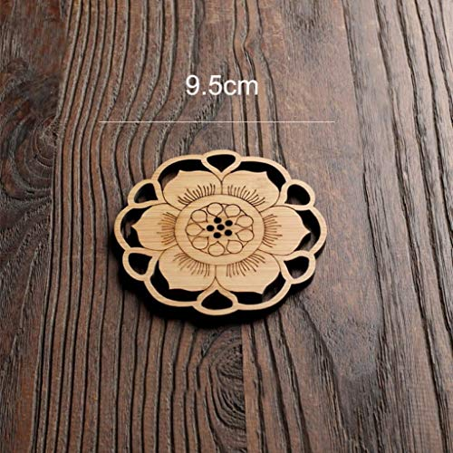 Wood Coasters for Drinks - 4-Pack Round Lotus Cup Coasters for Kitchen, Office Desk & Coffee Table