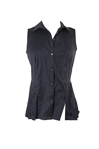 7c3fdab7f Image Unavailable. Image not available for. Color: Charter Club Black Peplum  Sleeveless Blouse