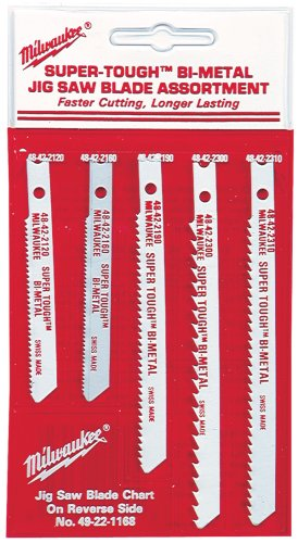 Shank Wood Cutting Jigsaw Blade (Milwaukee 49-22-1168 Universal Shank Metal/Wood Cutting Jig Saw Blade Assortment, 5-Pack)