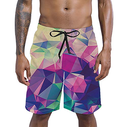 RAISEVERN Mens Prism 3D Print Summer Boardshorts Mesh Lining Trousers Quick Dry Beach Shorts Side Pockets Athletic Swim Trunks