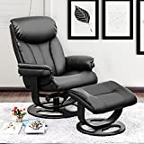 Haper & Bright Designs PP038170 Leisure Recliner with Ottoman and Swiveling Wood Base PU Leather (Black)
