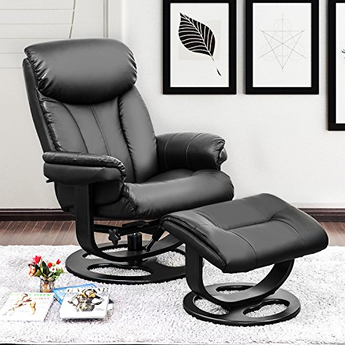 Haper & Bright Designs PP038170 Leisure Recliner with Ottoman and Swiveling Wood Base PU Leather (Black) Black Leisure Recliner Chair