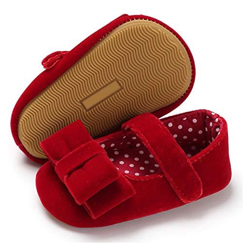 BENHERO Baby Infant Girls Soft Sole Floral Princess Mary Jane Shoes Prewalker Wedding Dress Shoes (12cm(8-14 Months), I-Red) ()